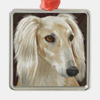 Gorgeous Light Fur Saluki Dog on Brown Background Metal Ornament
