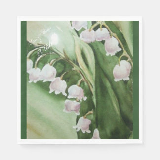 GORGEOUS LILY OF THE VALLEY MONOGRAMMED NAPKIN