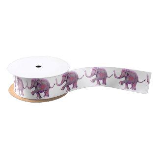 Gorgeous Little Painted Pink Elephant Babies Satin Ribbon