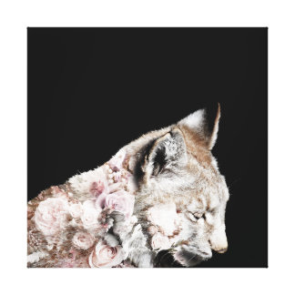 Gorgeous Lynx Roses Double Exposure Photo Canvas Print