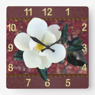 Gorgeous Magnolia Clock, Burgundy or YOUR COLORS Square Wall Clock
