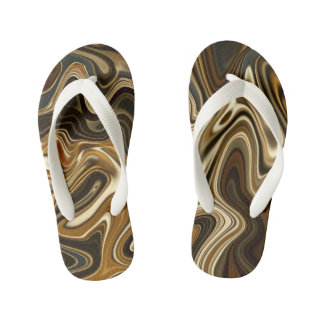 Gorgeous Marble Style - Warm brown Kid's Flip Flops
