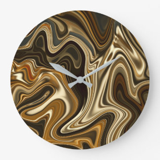 Gorgeous Marble Style - Warm brown Large Clock