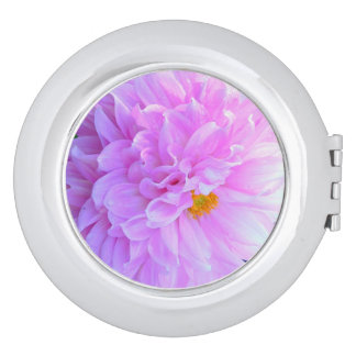 """GORGEOUS MAUVE-PINK ""FRILLY, CHIFFON-LIKE DAHLIA"" MIRROR FOR MAKEUP"