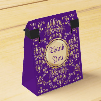 Gorgeous Medieval Damask Monogrammed Gold Purple Favor Box