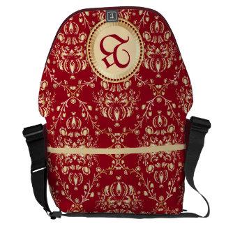 Gorgeous Medieval Gold Damask Carmine Red Monogram Messenger Bag