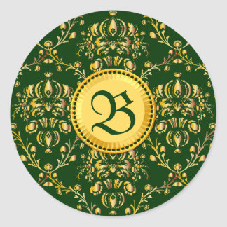 Gorgeous Medieval Monogram Gold Dark Green Damask Classic Round Sticker