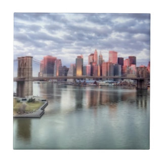 Gorgeous morning view and city reflections ceramic tile