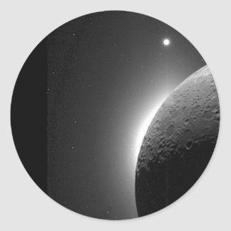 Gorgeous NASA image, the Moon lit by Earth-shine Round Sticker