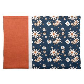 Gorgeous Navy Blue & Orange Floral Place Mat