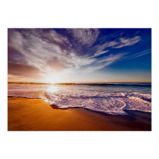 Gorgeous Ocean Waves on the Beach at Sunrise Poster
