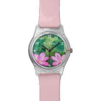 Gorgeous Pair Pink Lotus Couple Pond Green Leaves Wristwatches