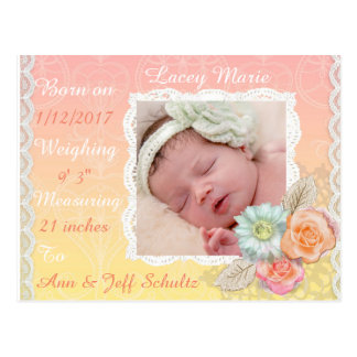Gorgeous Pastel Baby Birth Announcement Postcard