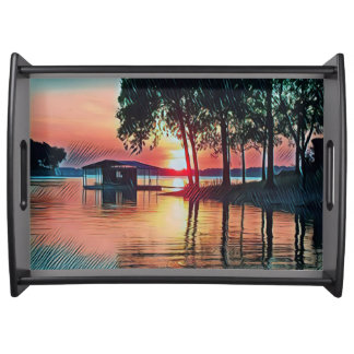 Gorgeous Peach  Colors Sunset On Lake Serving Tray