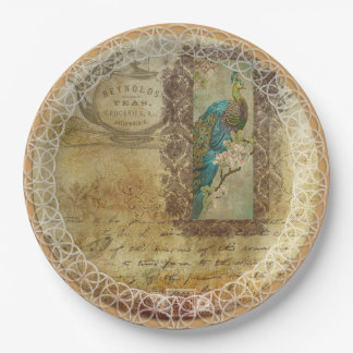 Gorgeous Peacock Coral & Turquoise Paper Plates 9 Inch Paper Plate