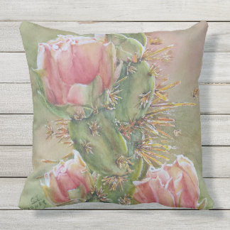 GORGEOUS PEAR CACTUS FLOWERS OUTDOOR PILLOW
