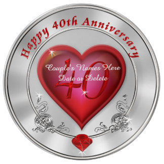 Gorgeous Personalized 40th Anniversary Plate