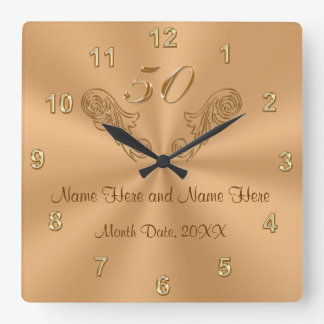 Gorgeous Personalized 50th Anniversary Gifts Square Wall Clock