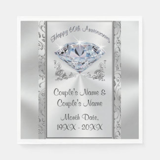 Gorgeous Personalized 60th Anniversary Napkins