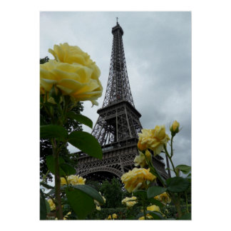 Gorgeous Photo Eiffel Tower Paris Yellow Roses Poster