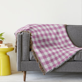 Gorgeous Pink And White Checks Gingham Pattern Throw Blanket