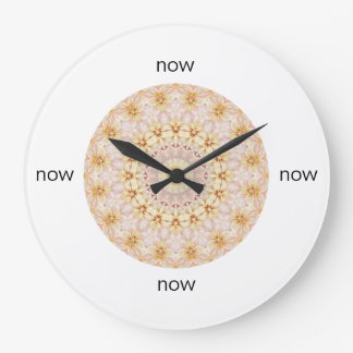 """Gorgeous Pink and Yellow Floral Mandala """"Now"""" Large Clock"""