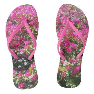 Gorgeous Pink Bougainvillea Bush Flip Flops