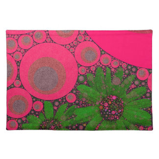 Gorgeous Pink Green Flower Abstract Placemats