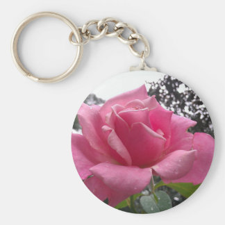 Gorgeous pink rose flower in bloom! keychain