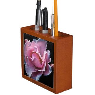 Gorgeous Pink Rose on Black. Desk Organizer