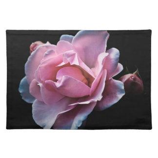 Gorgeous Pink Rose on Black Placemat