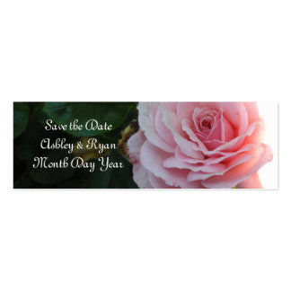 Gorgeous Pink Rose Save the Date Double-Sided Mini Business Cards (Pack Of 20)