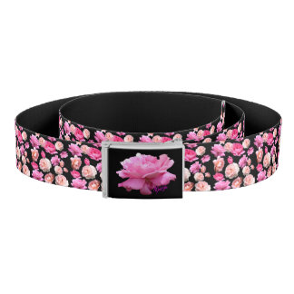 Gorgeous Pink Roses on Black Floral Belt