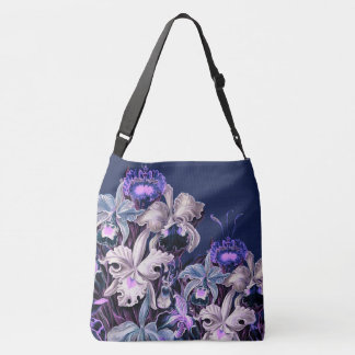 Gorgeous Purple Blue Vintage Flowers Crossbody Bag