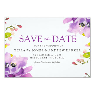 Gorgeous Purple Floral Wedding Save The Date Card