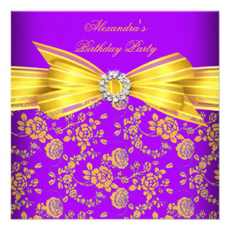 Gorgeous Purple Yellow Rose Damask Birthday Party Invite