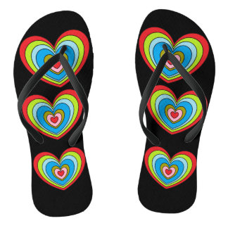 Gorgeous Rainbow Hearts Print Black Flip Flops
