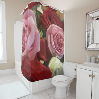 Gorgeous Red and Pink Roses Print Shower Curtain