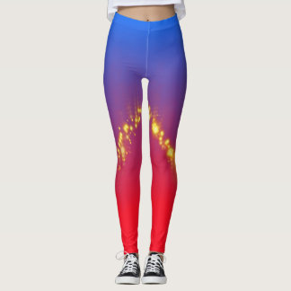 Gorgeous Red Blue Ombre with Gold Sparkles Leggings