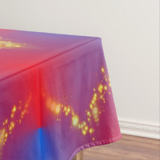 Gorgeous Red Blue Ombre with Gold Sparkles Tablecloth