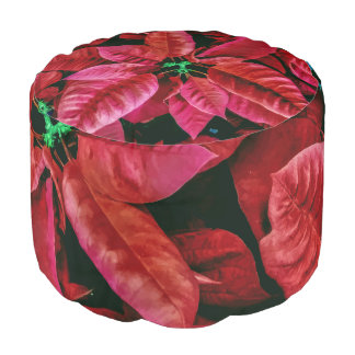 Gorgeous Red Poinsettia Photo Print Pattern Pouf