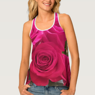 Gorgeous Red Roses Close Up Print Tank Top