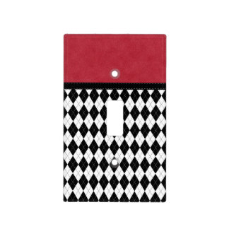 Gorgeous Retro Black White Red Argyle Light Switch Cover