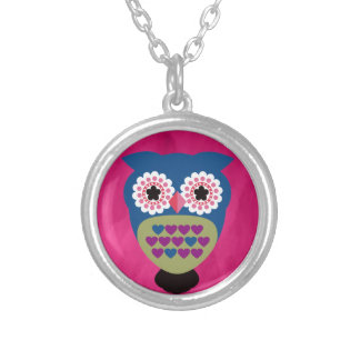 Gorgeous Retro Folk Art Owl Silver Plated Necklace