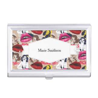 Gorgeous Retro Pinup Collage Barely There Business Card Holder