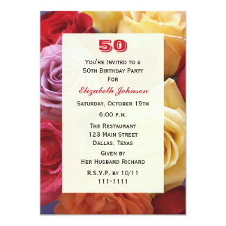 Gorgeous Roses 50th Birthday Party Invitation