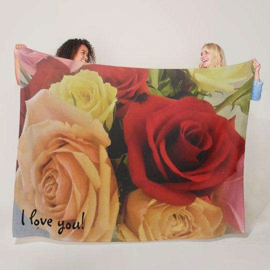 Gorgeous Roses Photo Print Design I love you Fleece Blanket
