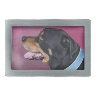 Gorgeous Rottweiler Portrait on a Pink Wall Belt Buckle