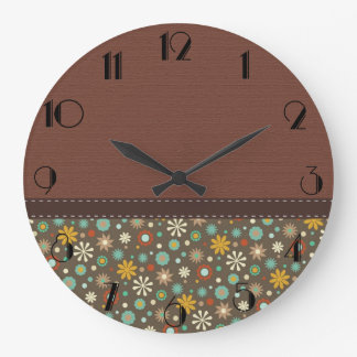 Gorgeous Rustic Brown Flowers Large Clock