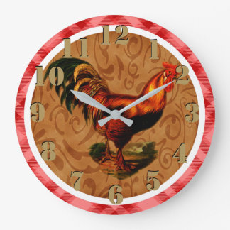 Gorgeous Rustic Rooster Country Chic Red Tartan Large Clock
